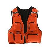 MagiDeal Mens Multi Pockets Hunting Shooting Fly Fishing Mesh Vest Photography Waistcoat - XL/XXL