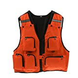 MagiDeal Mens Multi Pockets Hunting Shooting Fly Fishing Mesh Vest Photography Waistcoat - XL / XXL - Orange, XL