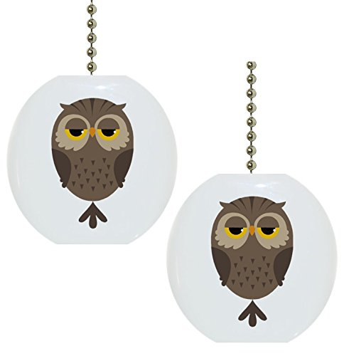 Set of 2 Cartoon Owl Animal Ceramic Fan Pulls by Carolina Hardware and Decor