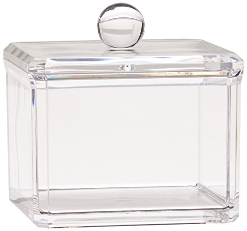 Danielle Creations Square Acrylic Cotton Ball Holder, Single Tier -