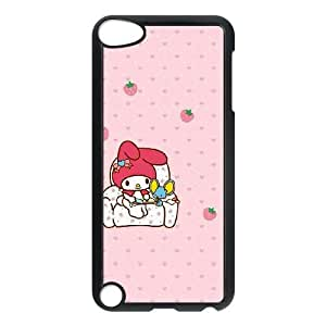 Grouden R Create and Design Phone Case, My Melody Cell Phone Case for iPod touch 5 Black + Tempered Glass Screen Protector (Free) LPC-0652197