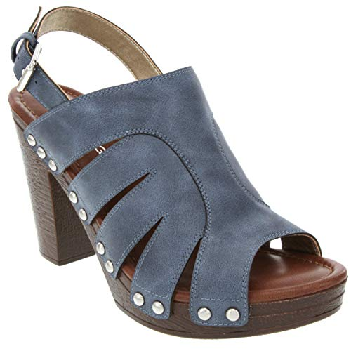 Rampage Women's Questa Heeled Two Band Slide Sandal 7 Blue Denim PU