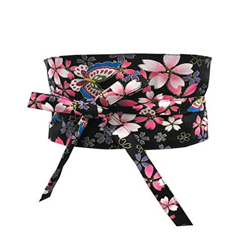 MAYSONG Japanese Cherry Blossom Butterfly Cotton Fabric Obi Waist Belt