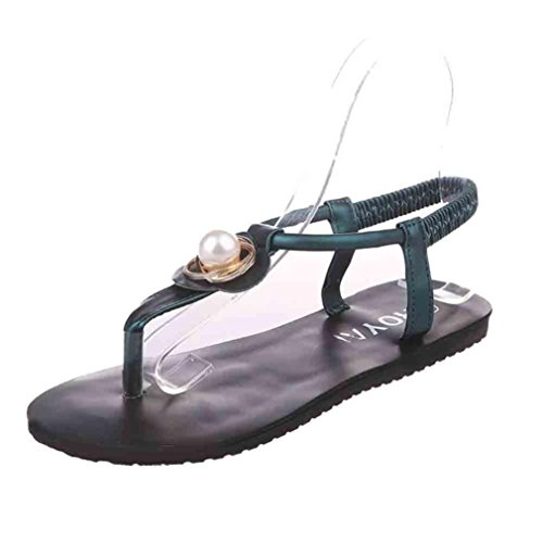 LANDFOX Mujeres Zapatos planos Bohemia Leisure Lady Sandalias Peep-Toe Zapatos al aire libre Verde