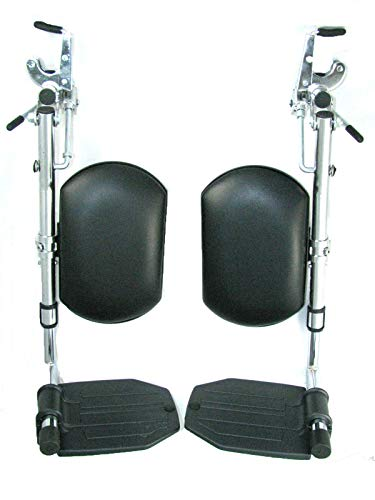 The Aftermarket Group Wheelchair Legrest Assembly, Hemi Spacing, Black Vinyl Calfpad, Black Aluminum Footplate, 1 Pair, - Black Aluminum Footplate