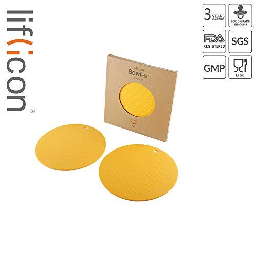 liflicon Premium Food-Grade Silicone Bowl Mat Heat Insulated Placemat Non-Slip Multipurpose Trivet Mats 2 pcs-Yellow ()