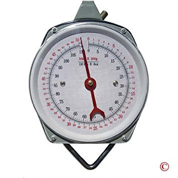 Portable Hanging Scale - Pit Bull CHIS1772 1 X 110 lb. Hanging Spring Kitchen Dial Scale, Silver