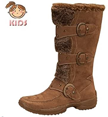 Lucky Top Faux Fur Mid-calf Fashion Buckle Baby Zipper Boots Jessica-8-2a Brown or Red (4, Camel)