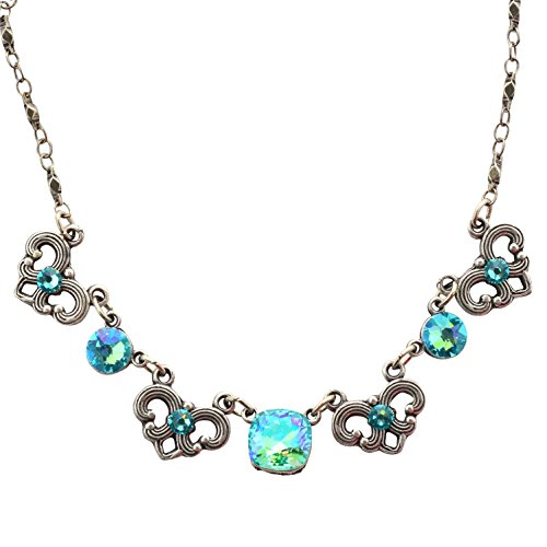 Anne Koplik Rounded Square Necklace, Silver Plated with Blue Crystals, 18
