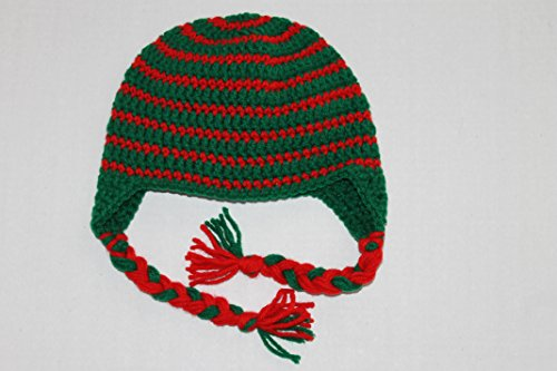 (Green and Red Striped Toddler Earflap Hat 18-24 Month)