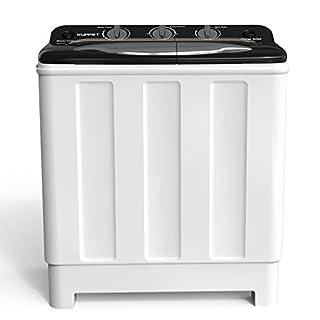 Compact Twin Tub Portable Mini Washing Machine 24lbs Capacity, Washer(16.5lbs)&Spiner(7.5lbs)/Built-in Drain Pump/Semi-Automatic (White&Black)