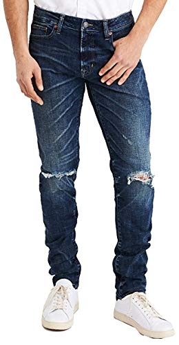American Eagle Men's 01174379 Slim Next Level Flex Jean,Medium Destroy (32x32)
