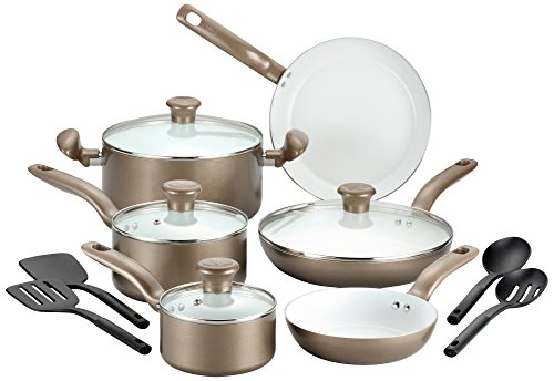 T-fal C728SE Initiatives Nonstick Ceramic Coating PTFE PFOA and Cadmium Free Scratch Resistant Dishwasher Safe Oven Safe Cookware Set, 14-Piece, Gold (T-fal Pots Pans)