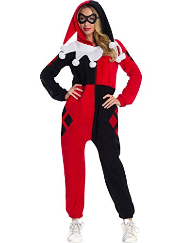 Rubie's DC Super Heroes Women's Harley Quinn Hooded Jumpsuit, As As Shown, Small]()