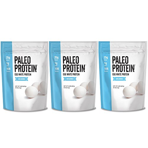 Paleo Protein Egg White Powder (6 LBS Total)(Soy Free)(90 Servings Total) (Three 2lbs Pouches)