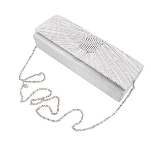 (Elegant Classic Pleated Satin Flap Rhinestones Clutch Evening Bag, Silver)