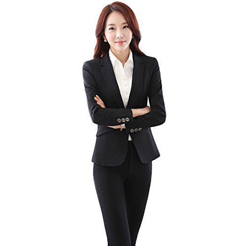 uruoi New Year Gift Women's Two Piece Office Lady Blazer Business Professional Suit Set Black L - Ladies Pant Suit