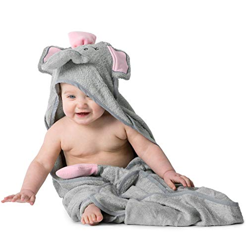 Hooded Baby Bath Towel with Soft, Organic Bamboo Terry - Hypoallergenic for Infant and Toddler Girls, Gray Elephant Animal Face, Sized Thick, Extra Large, Warm, Dry Shower Gift ()