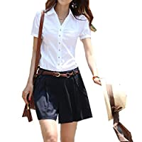 Yiluweinir Women V-Neck Short Sleeve Button Down Shirt Formal Collared Fitted Blouse Tops L White