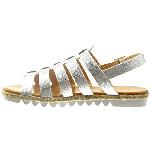 Angkorly - Scarpe da Moda sandali Espadrillas gladiatore donna tanga multi-briglia Tacco zeppa 2 CM - Argento