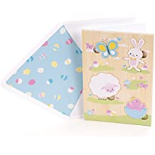 Hallmark Signature Easter Greeting Card for Kids (Removable Wood Puzzle- Bunny, Lamb, Chick and Butterfly)