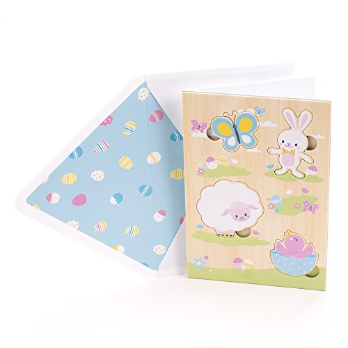 aster Greeting Card for Kids (Removable Wood Puzzle- Bunny, Lamb, Chick and Butterfly) (Butterfly Dreams Flower Girl Basket)