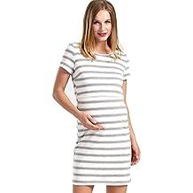 GHO Maternity Nursing Dress Womens Layered Breastfeeding Casual Short Sleeve Clothing