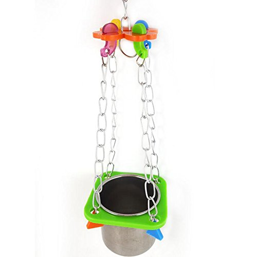 Da.Wa 1Pcs Birds Basin Colorful Acacia Parrots Hanging Food Basin Feed Bowl Swing Cage Toys for Parakeet by Da.Wa (Image #7)
