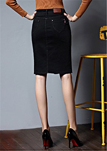 Jupe Jean Fit en Bouton Haililais Slim Taille Jupe Skirt t Jupe Black ElGant Elastiqu Jupe en avec Grande Femme Femelle 4Y1q8A