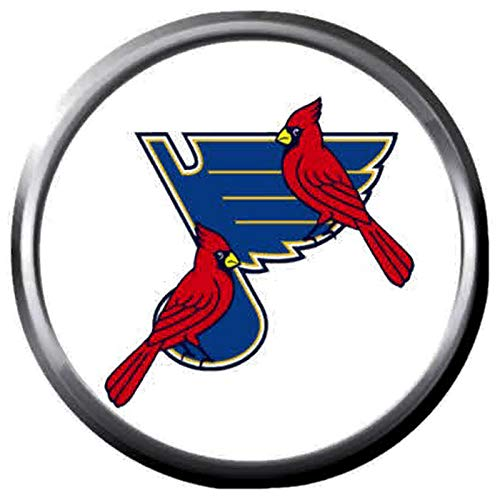 St Louis Blues NHL Hockey Logo and St Louis Cardinals MLB Logo Town Team Spirit 18MM - 20MM Fashion Snap Jewelry Snap Charm