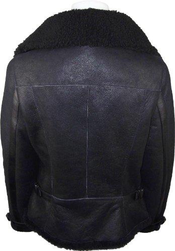 UNICORN Femmes peau de mouton mode luxe en cuir Veste Noir avec Noir fourrure #DU