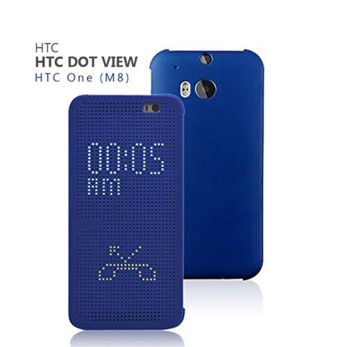 (Original Ultra Slim Dot View Flip Smart Multi-Function Case Cover for HTC One M8 (Blue))