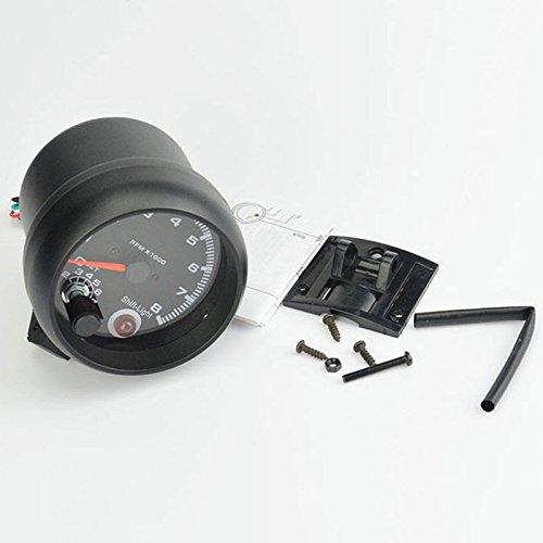 Universel Noir de voiture tachym/ètre 8000tr TACHO REV Jauge de compteur avec lumi/ère LED Rouge sadapter pour 4//6//8/cylindres essence de voiture