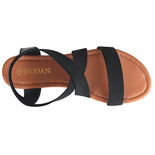 MuDan Women's Elastic Flat Sandals (8 B (M) US, Black-a) by MuDan (Image #1)