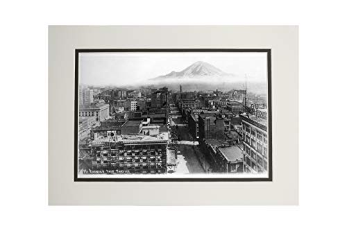 Seattle, Washington - View of Mt. Rainier, Aerial View of Downtown - Vintage Photograph (11x14 Double-Matted Art Print, Wall Decor Ready to -