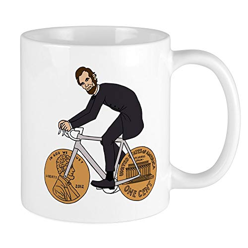 CafePress Abraham Lincoln On A Bike With Penny Wheels Mugs Unique Coffee Mug, Coffee Cup