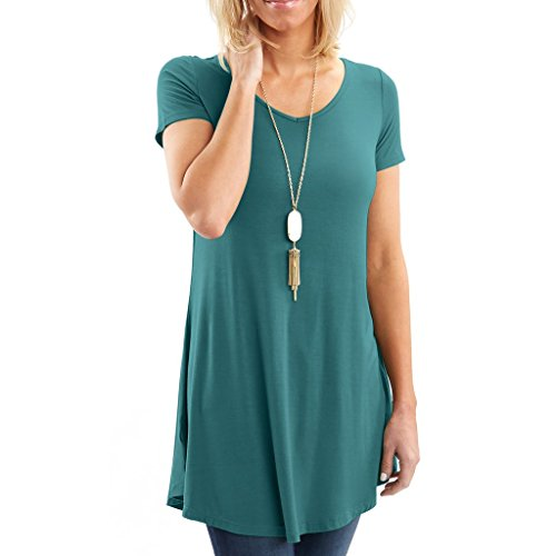 Anna Dress In Teal - Posh Women's Short Sleeve V-Neck Tunic with Flare Style Hem - Super Soft Loose Fit T-Shirt Tunic Top, Perfect Casual Blouse for Leggings & Jeans- Small - Teal