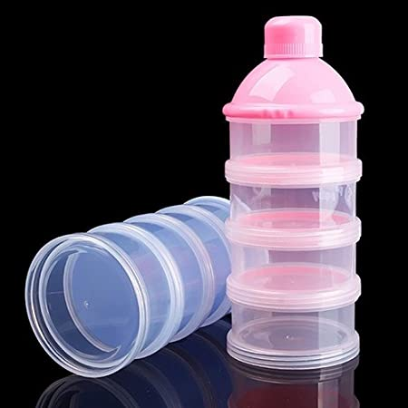 Kids Baby Feeding 4 Layers Milk Powder Dispenser Bottle Storage Container for Travel Sky Blue
