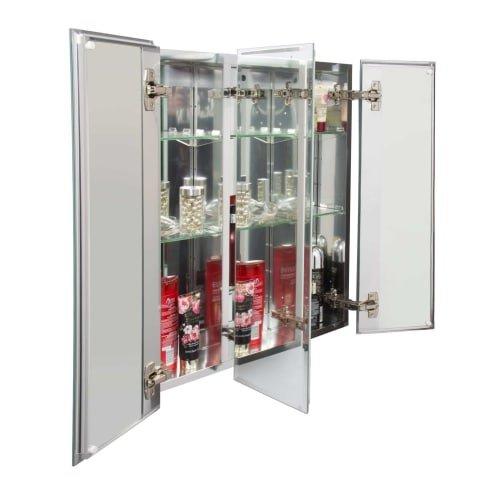 Jacuzzi PD46000 26'' H x 24'' W x 5-1/4'' D Triple Door Medicine Cabinet, Silver Aluminum