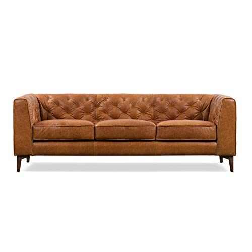 Poly and Bark Essex Leather Modern Sofa Cognac Tan