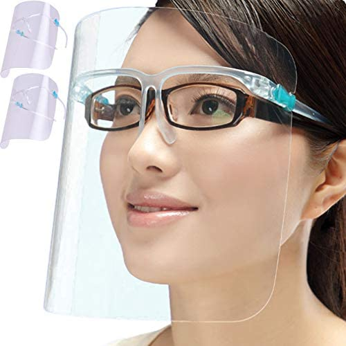 Pack of 2 Face Shield With Glasses Reusable Washable Protection Cover One Size