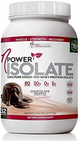nPower Nutrition Grass Fed Whey Protein Isolate Powder, Chocolate Truffle, 20g Protein, 5g BCAA, Lactose Free, Gluten Free, 2.1lb Tub