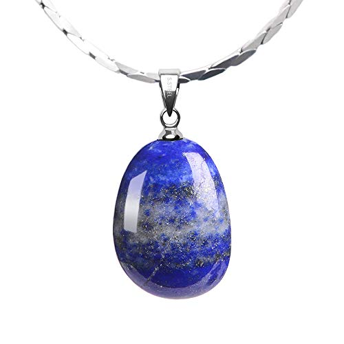 iSTONE 925 Sterling Silver Natural Lapis Lazuli Water Drop Shape Ladies Pendant Necklace, Gemstone Birthstone with 18