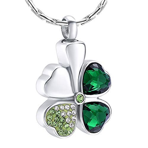 constantlife Cremation Memorial Jewelry Urn Necklace for Ashes Lucky Four-Leaf Clover Design Stainless Steel Pendant Ashes Holder Charm Keepsake (Green)