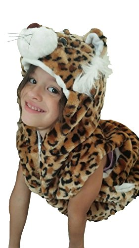 Fashion Vest with Animal Hoodie for Kids - Dress Up Costume - Pretend Play (Small, - Costume Boys Leopard