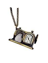 SUPPION Sewing Machine Shape Antique Pocket Watch, Watch Pendant Chain Necklace Christmas Gift