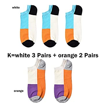 SaveStore 5 Pairs Casual Summer Mens Socks Art Colorful Low Cut Socks Ankle Male Short Socks