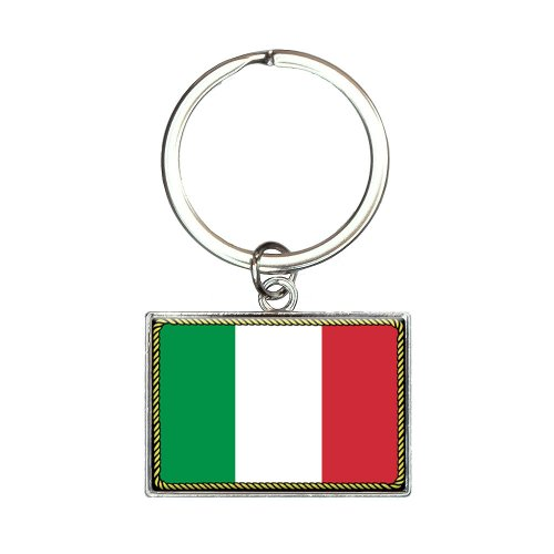 (Flag of Italy Rectangle Keychain Key Ring)