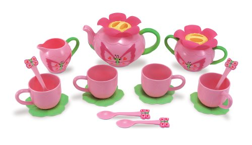Melissa & Doug Sunny Patch Bella Butterfly Tea Set (17 pcs) - Play Food Accessories (Plastic Set Tea)