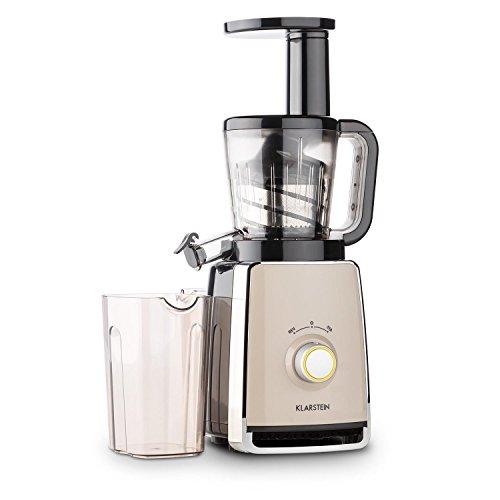 KLARSTEIN Sweetheart Slow Masticating Juicer Extractor • Fruit & Vegetable Cold Press Juicer Machine • 150 W • Slow Speed • Stainless Steel • Reverse Function • Chrome
